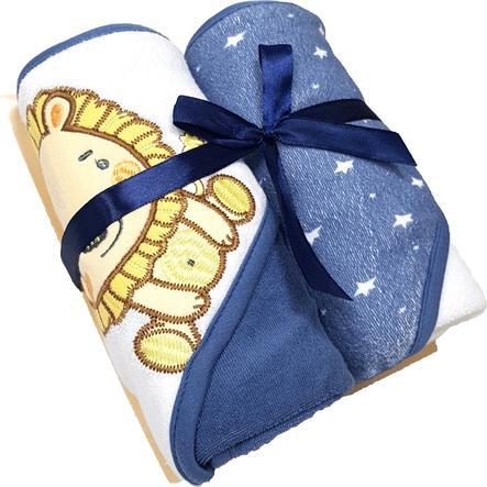 HÜTTE & CO telo da bagno con cappuccio confezione doppia blu