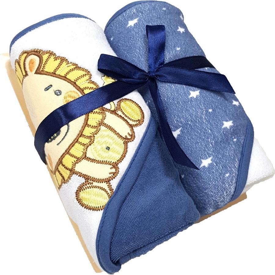 HÜTTE & CO badehåndkle med hette dobbel pakke blå