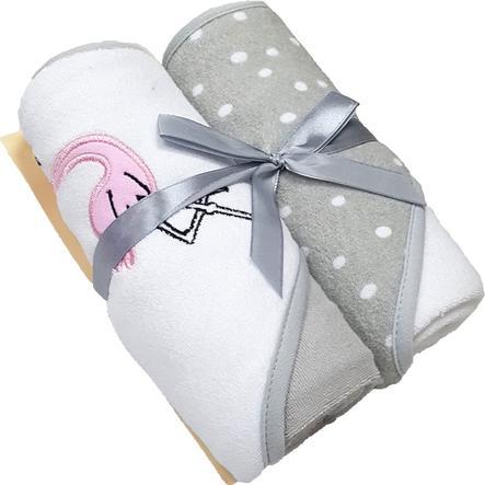 HÜTTE & CO Badetuch mit Kapuze Doppelpack rosa