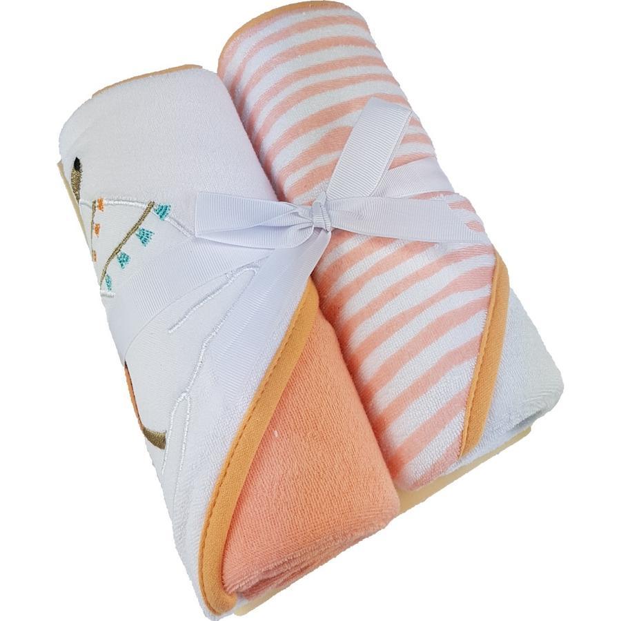 HÜTTE & CO badhanddoek met kap dubbel pakket orange