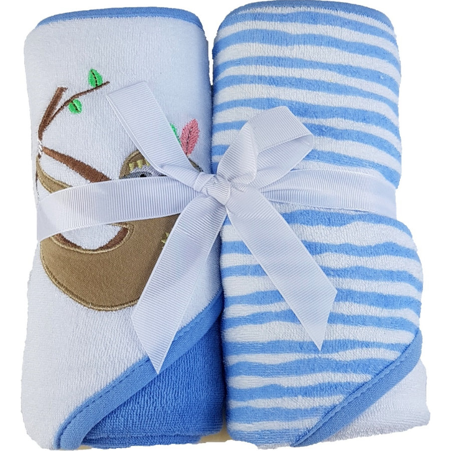 HÜTTE & CO badhanddoek met kap dubbelpak blauw