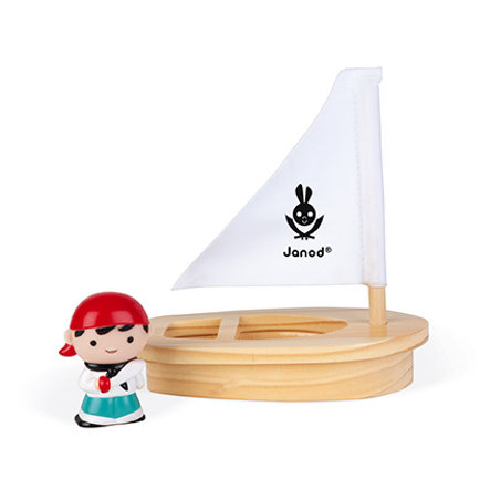Janod® Badespielzeug Wasserspritzer-Pirat mit Boot
