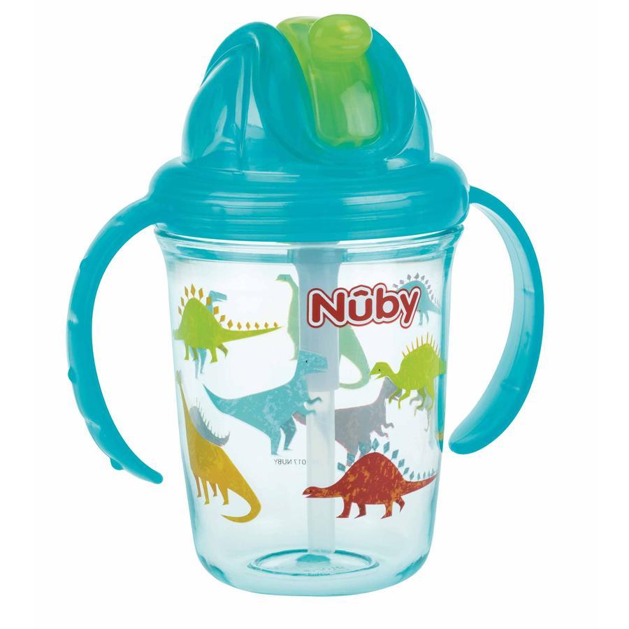 Vaso con pajita Nûby 360° Tritan 240 ml en color aqua