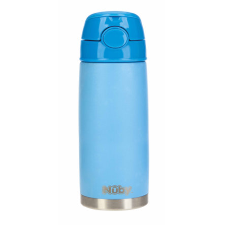 Nûby Trinkhalmflasche aus Edelstahl 420 ml in blau
