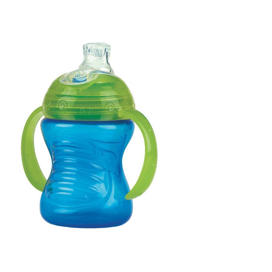 Nûby auslaufsichere Trinklerntasse mit Soft Silikon Trinkmundstück 240 ml in blau