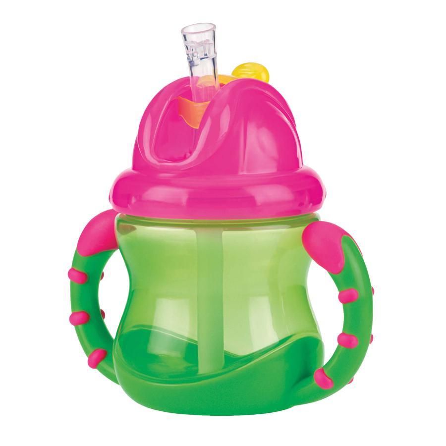 Vaso con pajita impermeable Nûby PP 240 ml en verde