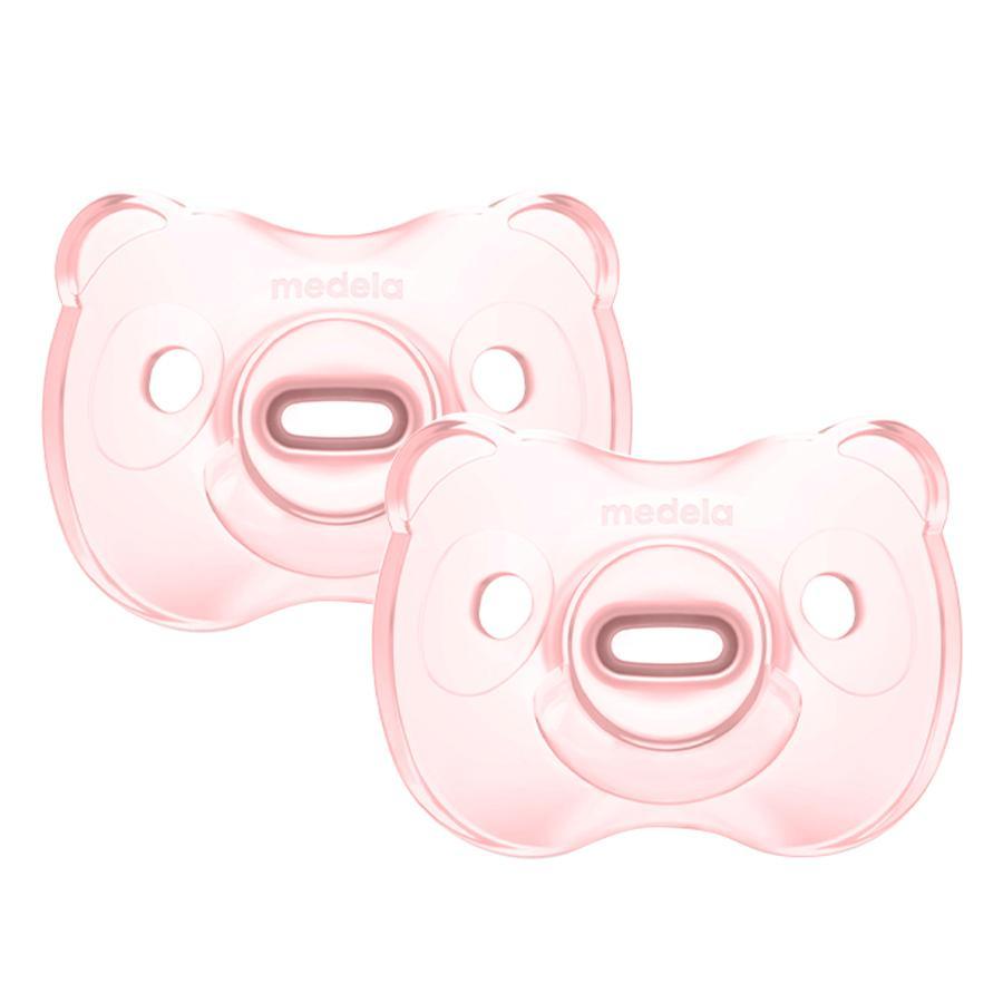 Medela Baby Dudlík Soft Silicone 0-6 UNO ve světle růžové barvě, 2 kusy