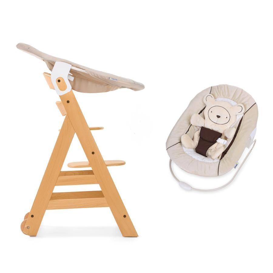 HAUCK Krzesełko do karmienia Beta Plus natur wraz z leżaczkiem na krzesełko Bouncer 2w1 Hearts beige