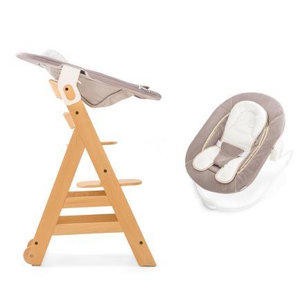 hauck Chaise haute enfant évolutive Beta Plus bois naturel, transat inclus stretch beige