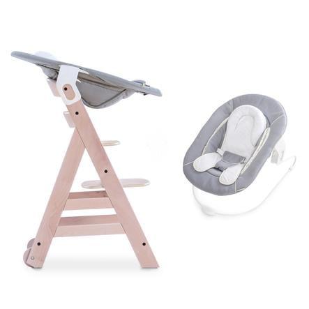 hauck Chaise haute enfant évolutive Beta Plus bois whitewashed, transat inclus stretch gris