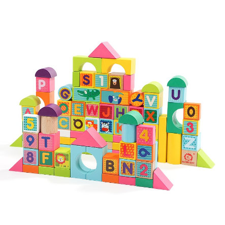 TopBright Toys® Holz Bausteine Zahlen & Buchstaben - 100 tlg.