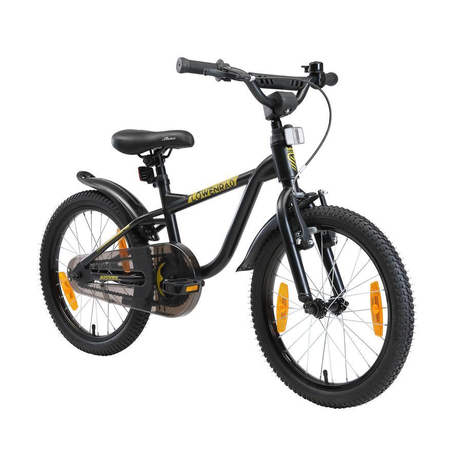 LÖWENRAD Kinder Fahrrad | 18 Zoll Räder | Schwarz