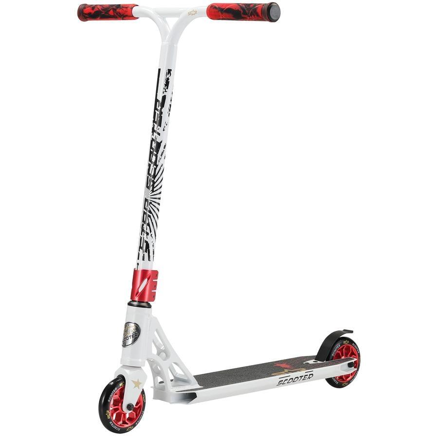 STAR-SCOOTER® Freestyle Aluminium Jump Stunt Scooter | 110mm Räder | Weiß  Rot