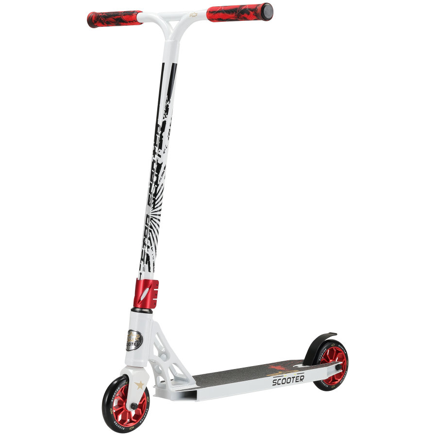 STAR- SCOOT ER® Free style Aluminium Jump Stunt Scoot er   120mm Wielen   Wit Rood