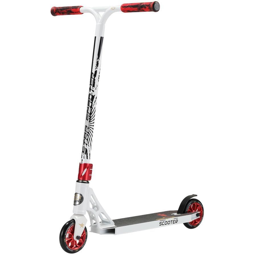 STAR-SCOOTER® Freestyle Aluminium Jump Stunt Scooter | 120mm Räder | Weiß Rot
