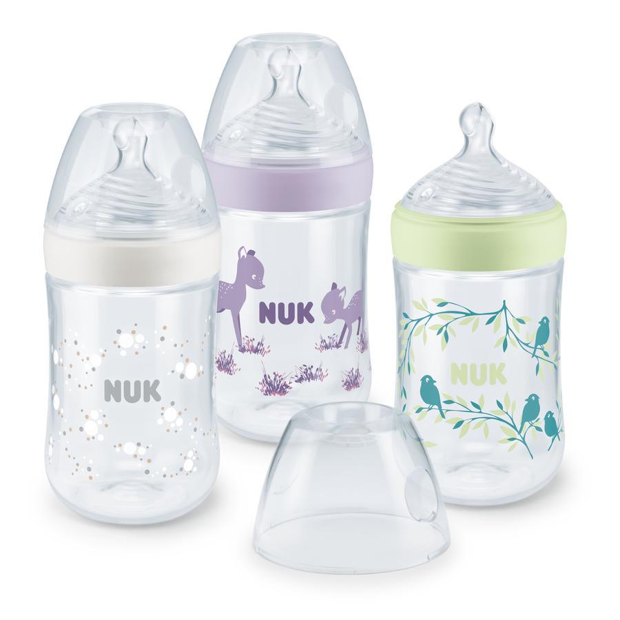 NUK Biberon Nature Sense pack avantage Temperature Control PP 260 ml violet lot de 3