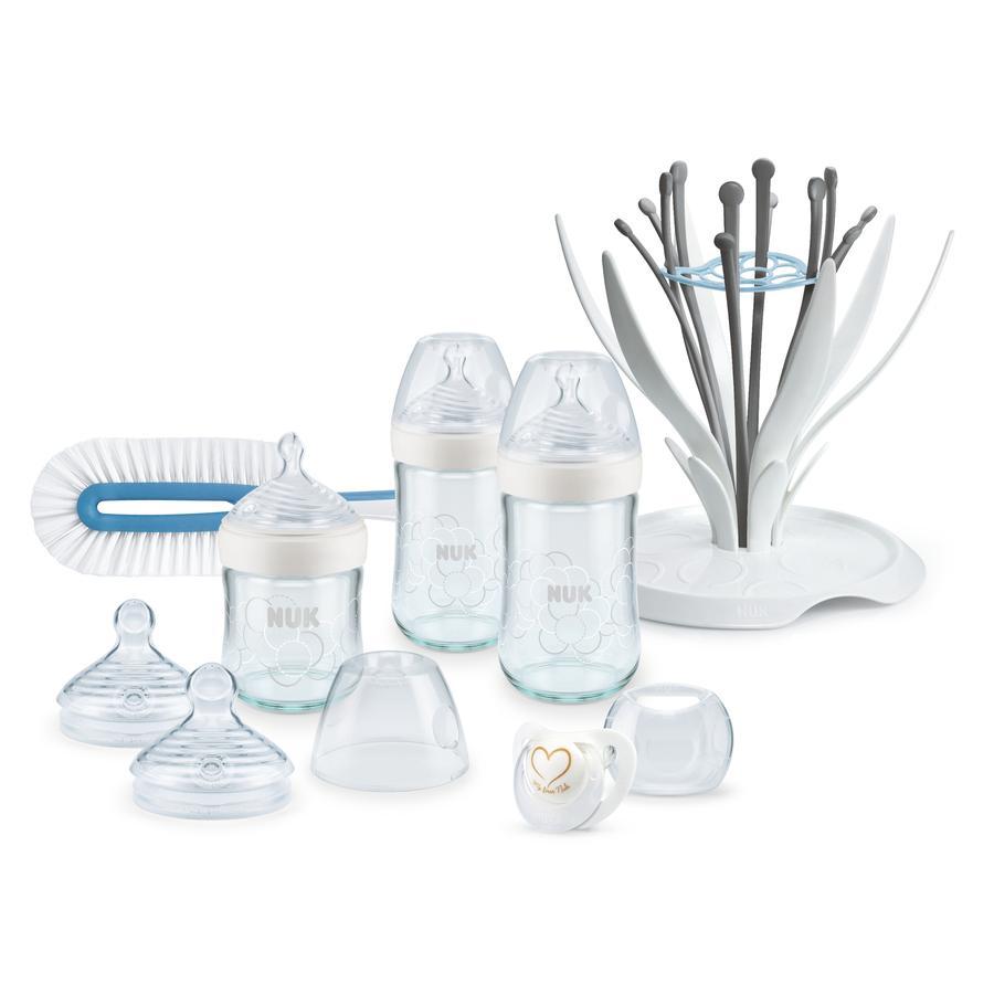 NUK Startersett Nature Sense Premium glassflasker i hvitt