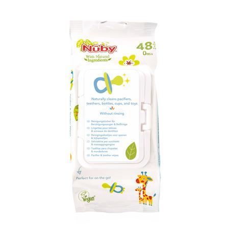 Nûby salviette umide antibatteriche per ciucci e anelli da dentizione Tutto Natural 48 pezzi con scatola dispenser chiudibile a chiave
