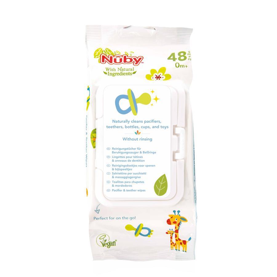 Nûby antibacteriële vochtige doekjes voor fopspenen en bijtringen Alle Natural 48 stuks met afsluitbare dispenserdoos