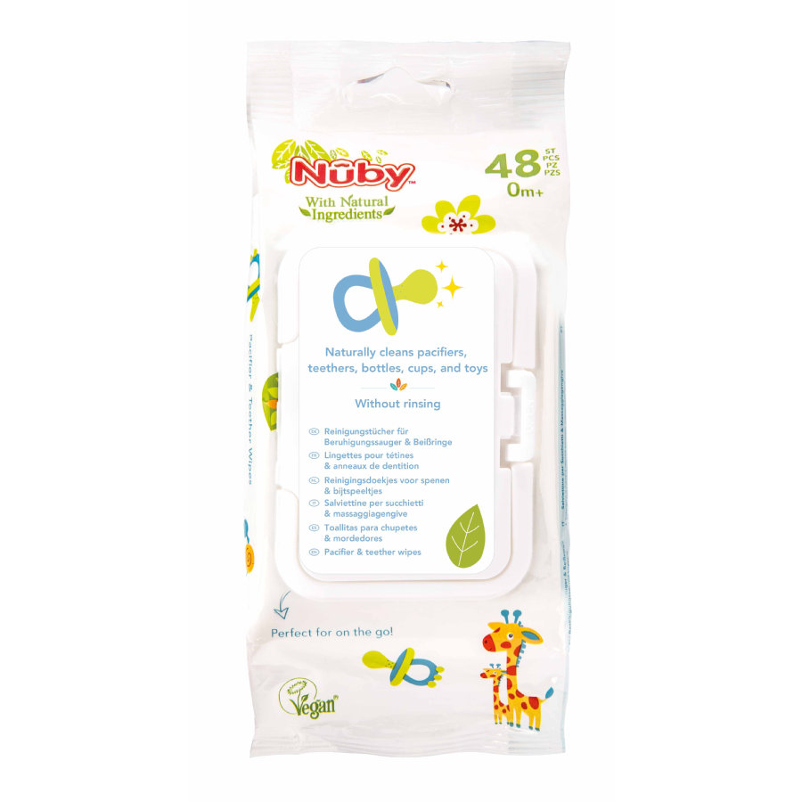 Nûby antibakterielle Feuchttücher für Schnuller und Beißringe All Natural 48 Stück mit verschließbarer Spenderbox