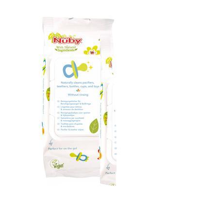 Nûby antibakterielle Reinigungstücher für Schnuller und Beißringe  All Natural  2 x 48 Stück mit verschließbarer Spenderbox
