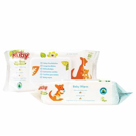 Nûby Baby-Feuchttücher All Natural 2x 80 Feuchttücher mit verschließbarer Spenderbox