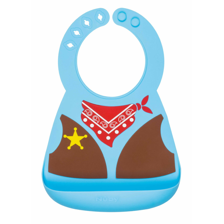 Nûby Lätzchen mit Auffangschale Cowboy in blau