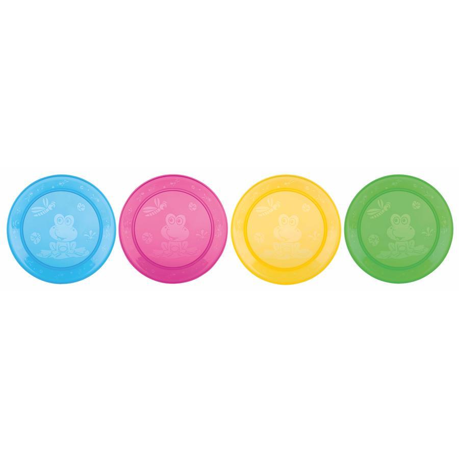 Nûby sett med 4 tallerkener fra PP i fargerike