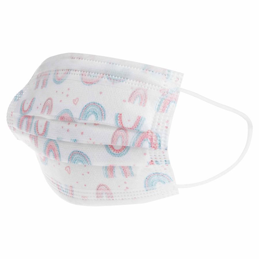 Nûby engangs hverdagsmaskepakke med 10, munn- og nesebeskyttelse for barn 4-12 år, 3-lags for jenter