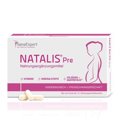 SanaExpert Nahrungsergänzungsmittel Natalis® Pre Folsäure und  Vitamine bei Kinderwunsch & Frühschwangerschaft 1 x Monatspackung á 30 Kapseln