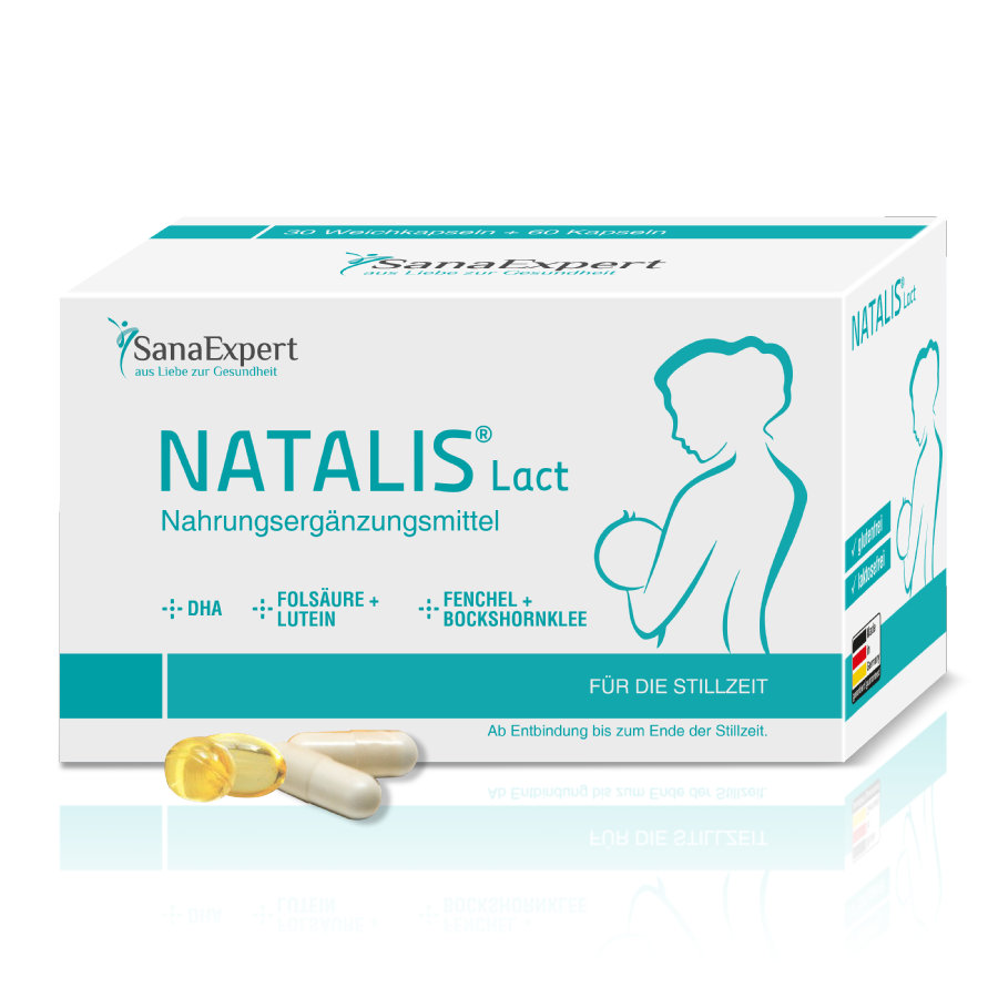 SanaExpert Nahrungsergänzungsmittel Natalis Lact Vitamine und DHA für die Stillzeit mit Folsäure, Fenchel und Bockshornklee 1 x Monatspackung á 90 Kapseln