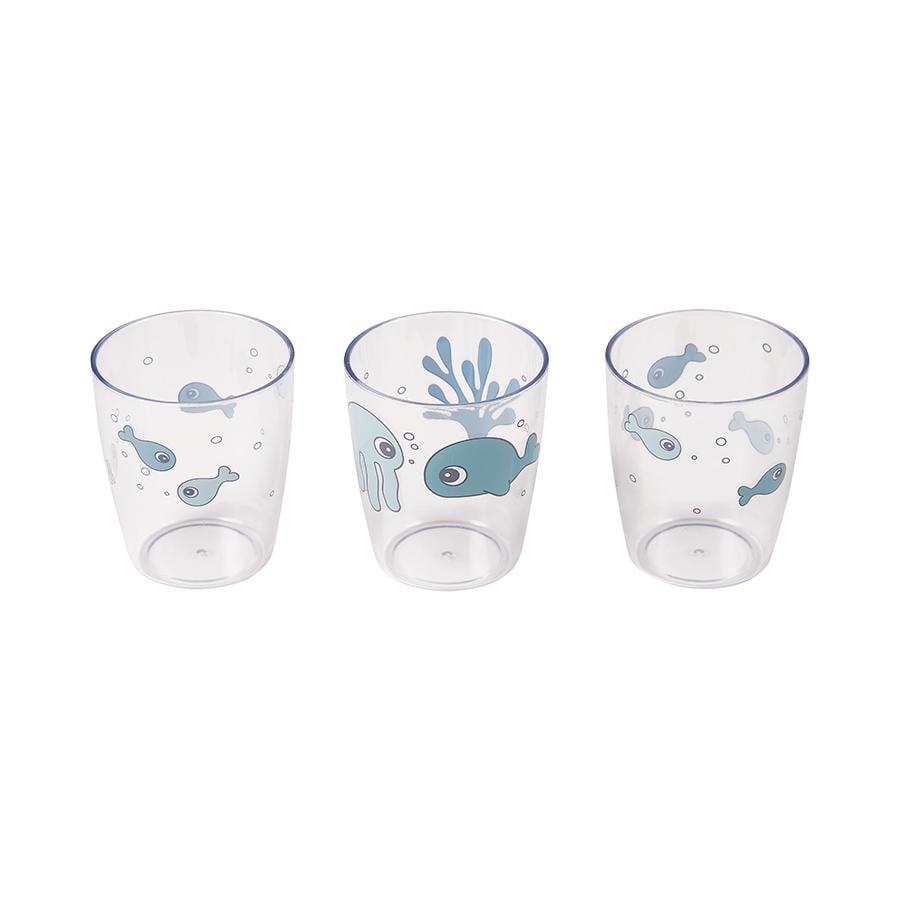 Done by Deer™ Glas Yummi mini 3-er Pack Sea friends in blau