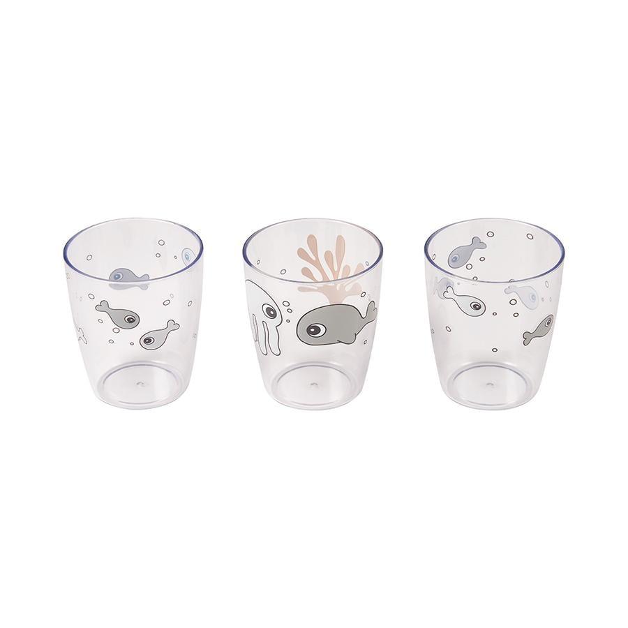 Done by Deer™ Glas Yummi mini 3-er Pack Sea friends in senfgelb/grau