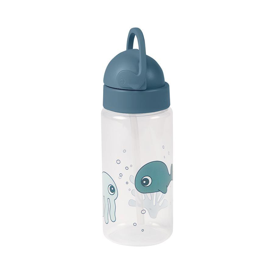 Done by Deer™ Trinkflasche mit Strohhalm Sea friends in blau