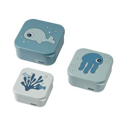 Done by Deer™ Snackbox-Set 3-er Pack Sea friends in blau