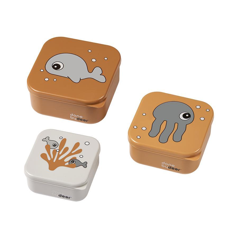 Done by Deer™ Snackbox-Set 3-er Pack Sea friends in senfgelb/grau