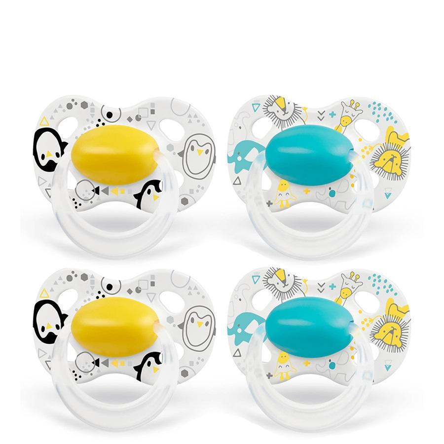 Medela Baby Schnuller Original ab dem 18. Monat DUO Signature 4 Stück in gelb und türkis