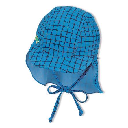 Sterntaler Casquette à visière avec protège-cou bleu