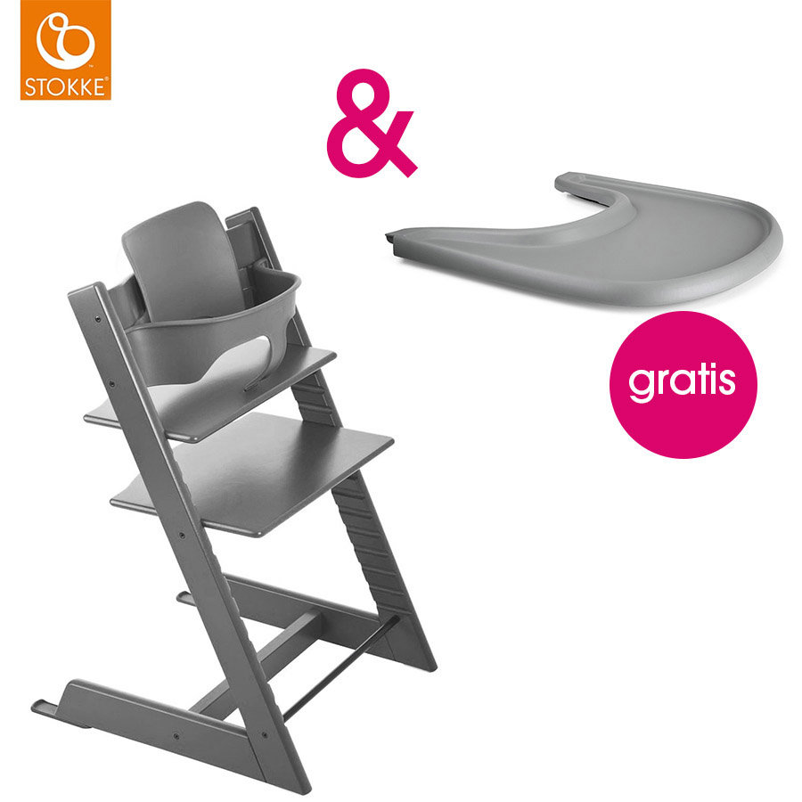 STOKKE® Tripp Trapp® Hochstuhl inkl. Baby Set Buche Storm Grey + Gratis Tray Storm Grey