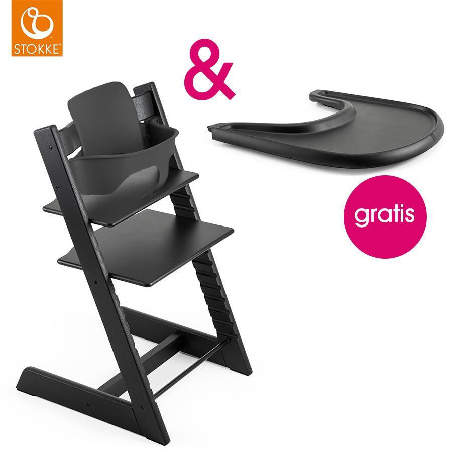 STOKKE® Tripp Trapp® Hochstuhl inkl. Baby Set Buche schwarz  + Gratis Tray schwarz