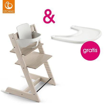 STOKKE® Tripp Trapp® Hochstuhl Buche weiß transparent inkl. Baby Set weiß + Gratis Tray weiß