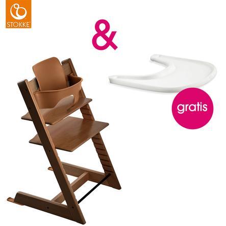 STOKKE® Tripp Trapp® Hochstuhl inkl. Baby Set Buche walnussbraun + Gratis Tray weiß
