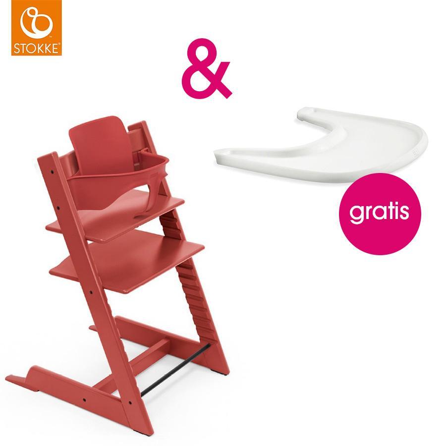 STOKKE® Tripp Trapp® Hochstuhl inkl. Baby Set Buche Warm Red + Gratis Tray weiß