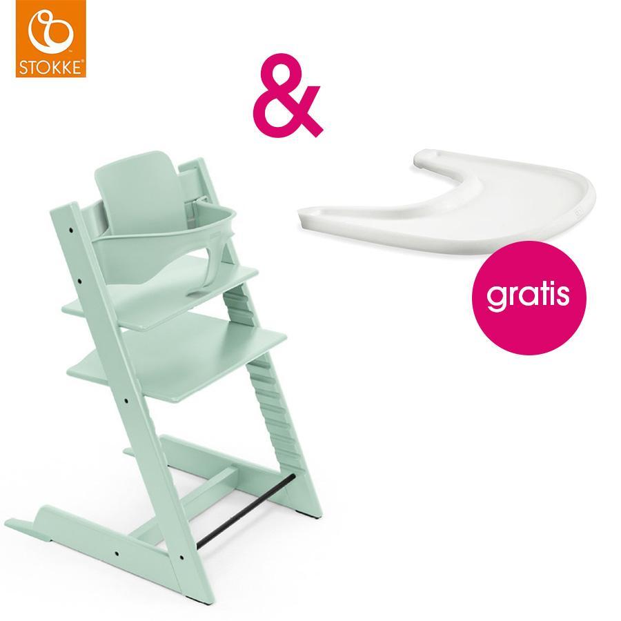 STOKKE® Tripp Trapp® Hochstuhl inkl. Baby Set Buche Soft Mint + Gratis Tray weiß