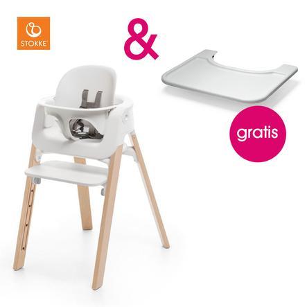 STOKKE® Steps™ Hochstuhl weiß Buche natur inkl. Baby Set weiß + Gratis Tray weiß