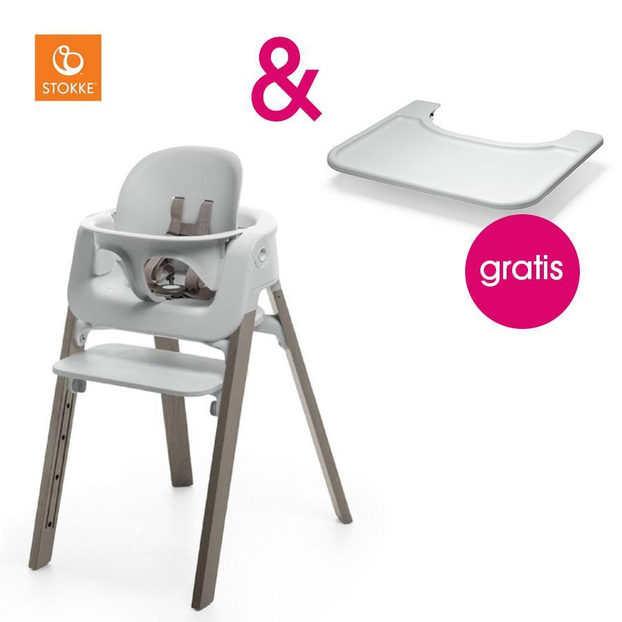 STOKKE® Steps™ Hochstuhl weiß Buche Hazy Grey inkl. Baby Set weiß + Gratis Tray weiß