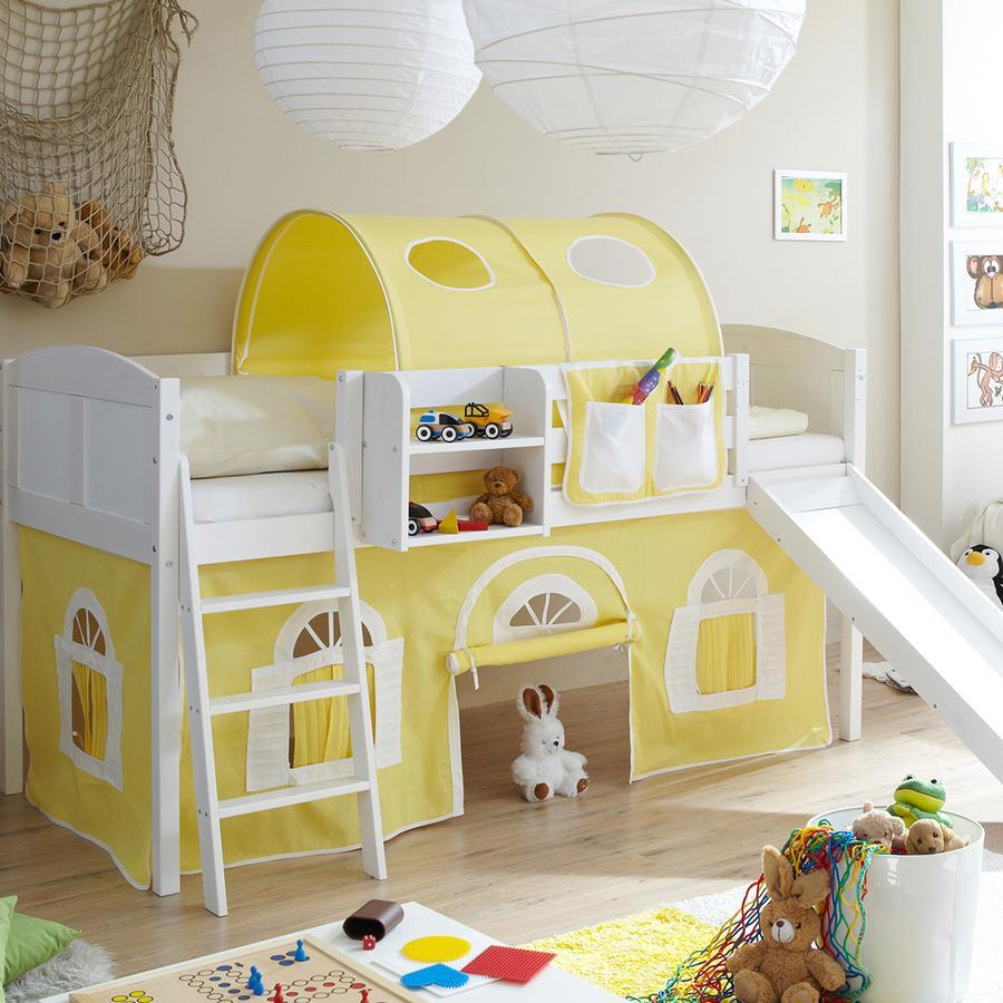 TICAA Patrová postel se skluzavkou EKKI borovice bílá Country - žluto-bílá - venkovský dům