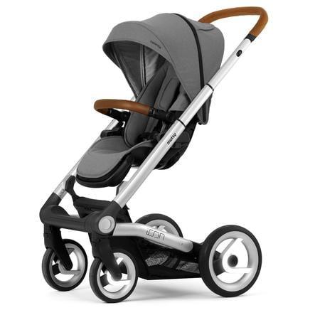 mutsy Kinderwagen Icon Rahmen Silver inklusive Sitz und Verdeck Balance Granite