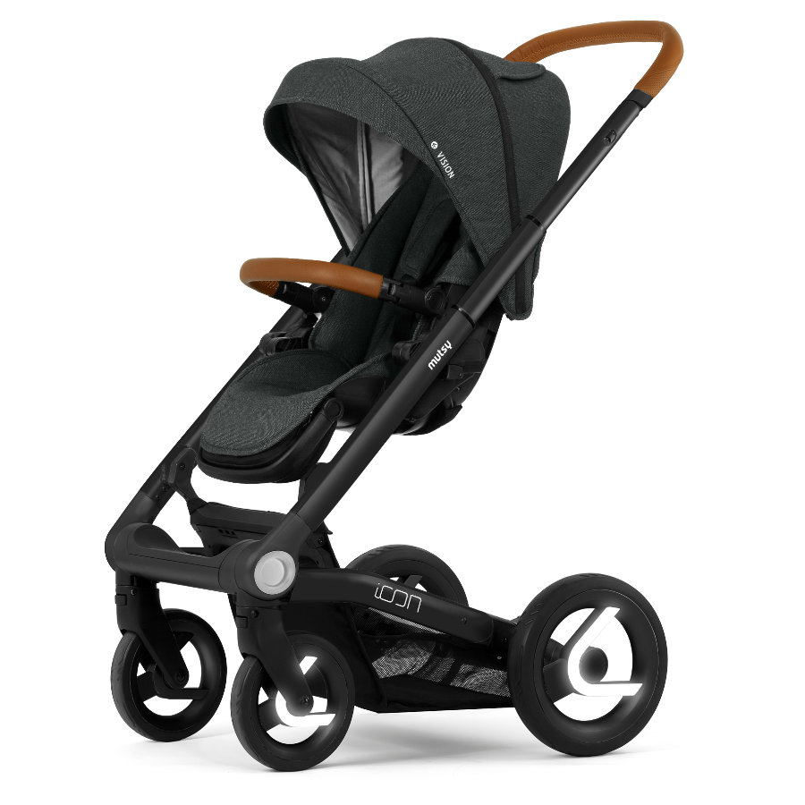 Mutsy wandelwagen Icon frame Black inclusief zitje en zonnekap Vision Urban Grij