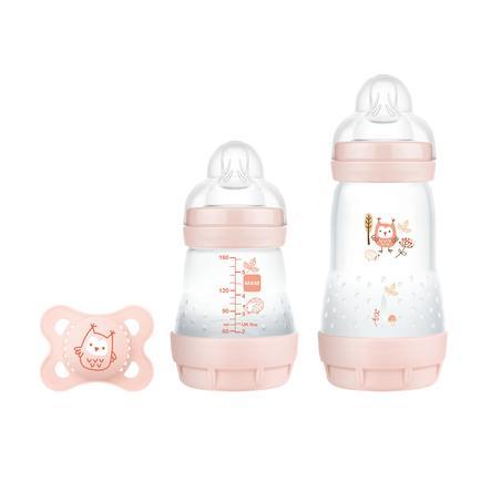 MAM Coffret naissance biberons Easy Start S anti-coliques Elements 160/260 ml hibou rose